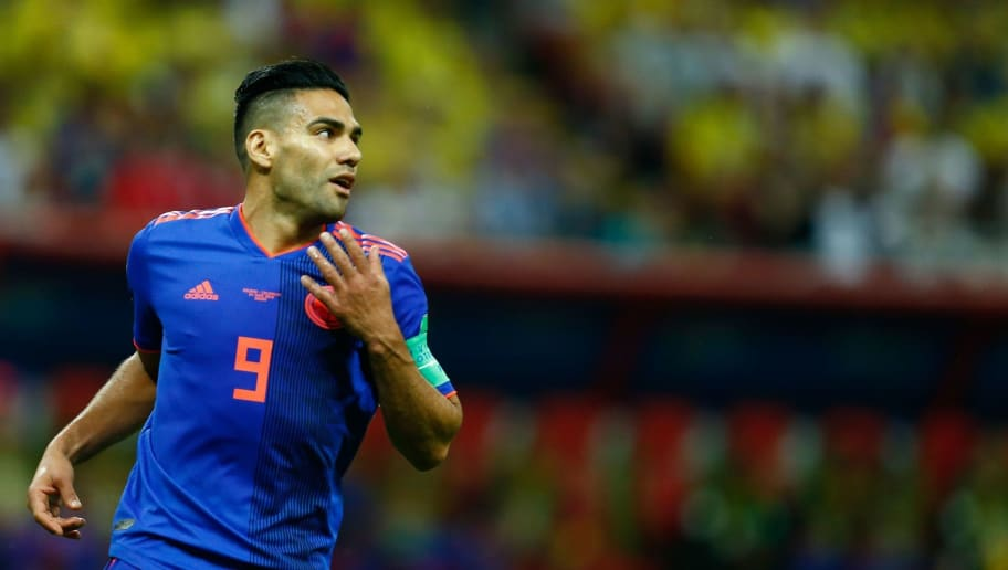 Colombia's forward Falcao reacts during the Russia 2018 World Cup Group H football match between Poland and Colombia at the Kazan Arena in Kazan on June 24, 2018. (Photo by BENJAMIN CREMEL / AFP) / RESTRICTED TO EDITORIAL USE - NO MOBILE PUSH ALERTS/DOWNLOADS        (Photo credit should read BENJAMIN CREMEL/AFP/Getty Images)