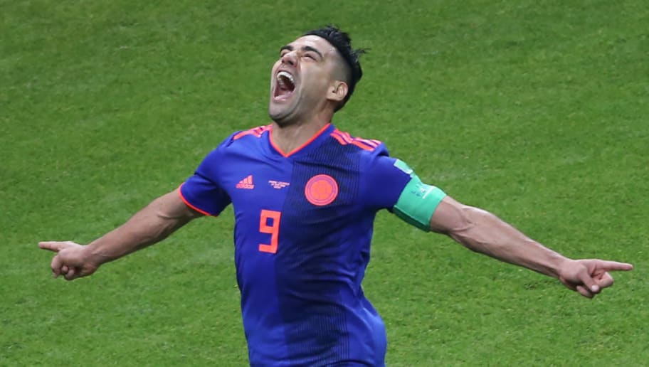 Colombia's forward Falcao celebrates after scoring their second goal during the Russia 2018 World Cup Group H football match between Poland and Colombia at the Kazan Arena in Kazan on June 24, 2018. (Photo by Roman Kruchinin / AFP) / RESTRICTED TO EDITORIAL USE - NO MOBILE PUSH ALERTS/DOWNLOADS        (Photo credit should read ROMAN KRUCHININ/AFP/Getty Images)