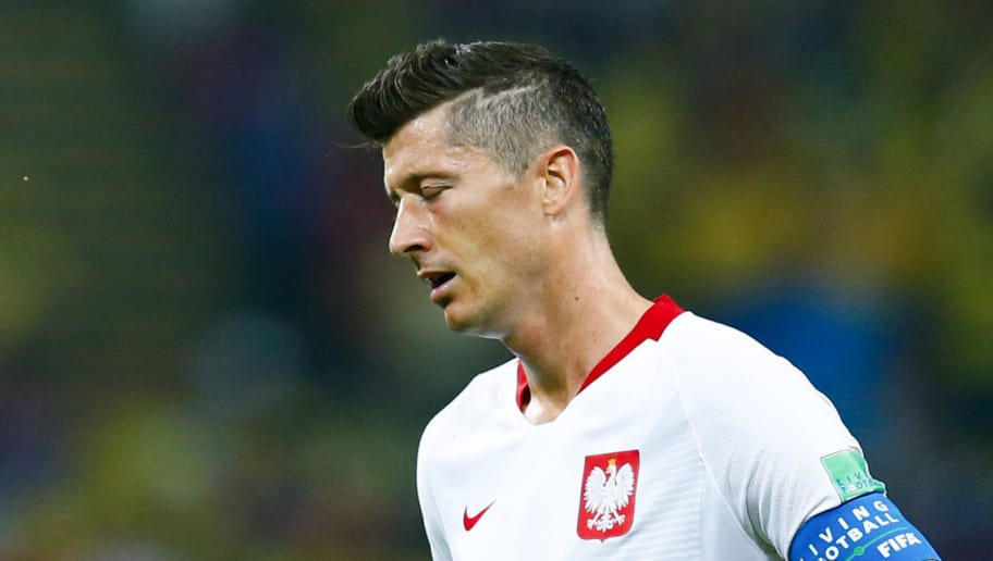 Poland's forward Robert Lewandowski reacts during the Russia 2018 World Cup Group H football match between Poland and Colombia at the Kazan Arena in Kazan on June 24, 2018. Colombia won 0-3. (Photo by BENJAMIN CREMEL / AFP) / RESTRICTED TO EDITORIAL USE - NO MOBILE PUSH ALERTS/DOWNLOADS        (Photo credit should read BENJAMIN CREMEL/AFP/Getty Images)