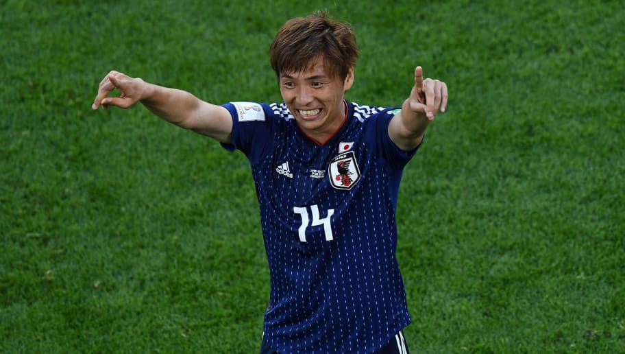 Japan's midfielder Takashi Inui celebrates a goal during the Russia 2018 World Cup Group H football match between Japan and Senegal at the Ekaterinburg Arena in Ekaterinburg on June 24, 2018. (Photo by Anne-Christine POUJOULAT / AFP) / RESTRICTED TO EDITORIAL USE - NO MOBILE PUSH ALERTS/DOWNLOADS        (Photo credit should read ANNE-CHRISTINE POUJOULAT/AFP/Getty Images)