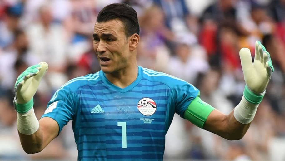 Egypt's goalkeeper Essam El Hadary reacts during the Russia 2018 World Cup Group A football match between Saudi Arabia and Egypt at the Volgograd Arena in Volgograd on June 25, 2018. (Photo by PHILIPPE DESMAZES / AFP) / RESTRICTED TO EDITORIAL USE - NO MOBILE PUSH ALERTS/DOWNLOADS        (Photo credit should read PHILIPPE DESMAZES/AFP/Getty Images)
