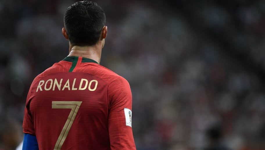 Portugal's forward Cristiano Ronaldo reacts during the Russia 2018 World Cup Group B football match between Iran and Portugal at the Mordovia Arena in Saransk on June 25, 2018. (Photo by Filippo MONTEFORTE / AFP) / RESTRICTED TO EDITORIAL USE - NO MOBILE PUSH ALERTS/DOWNLOADS        (Photo credit should read FILIPPO MONTEFORTE/AFP/Getty Images)