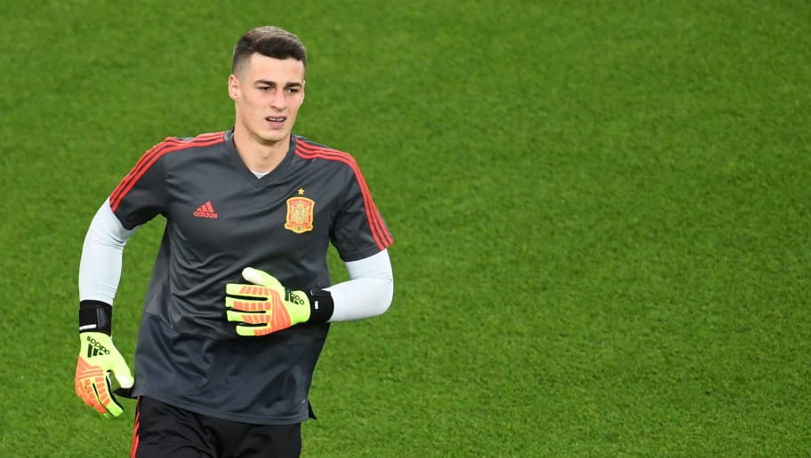 Spain's goalkeeper Kepa Arrizabalaga warms up before the Russia 2018 World Cup Group B football match between Spain and Morocco at the Kaliningrad Stadium in Kaliningrad on June 25, 2018. (Photo by OZAN KOSE / AFP) / RESTRICTED TO EDITORIAL USE - NO MOBILE PUSH ALERTS/DOWNLOADS        (Photo credit should read OZAN KOSE/AFP/Getty Images)