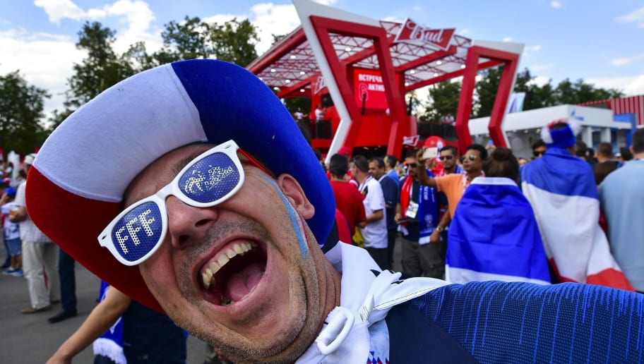 A France fan arrives prior to the Russia 2018 World Cup Group C football match between Denmark and France at the Luzhniki Stadium in Moscow on June 26, 2018. (Photo by Mladen ANTONOV / AFP) / RESTRICTED TO EDITORIAL USE - NO MOBILE PUSH ALERTS/DOWNLOADS        (Photo credit should read MLADEN ANTONOV/AFP/Getty Images)