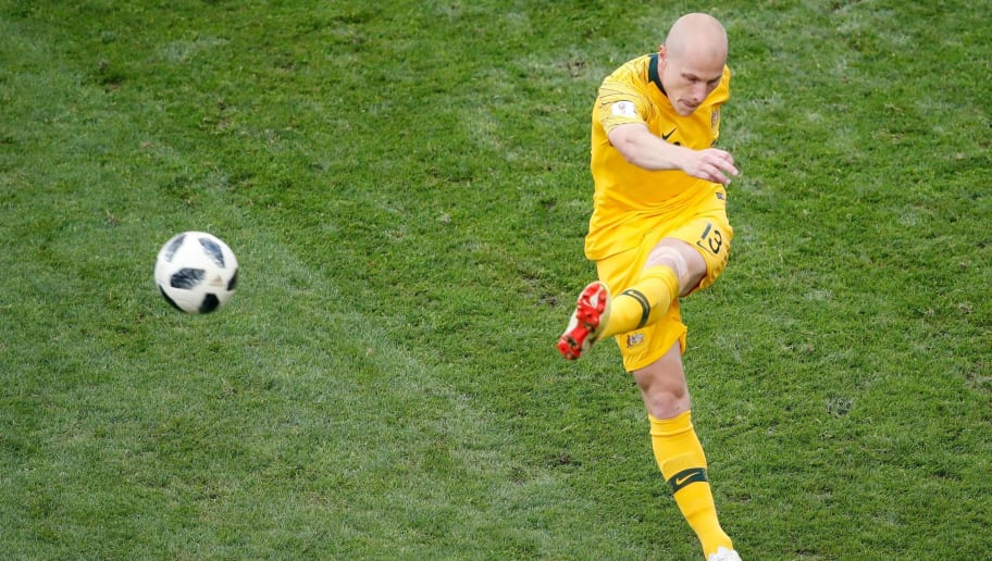 Australia's midfielder Aaron Mooy kicks the ball during the Russia 2018 World Cup Group C football match between Australia and Peru at the Fisht Stadium in Sochi on June 26, 2018. (Photo by Odd ANDERSEN / AFP) / RESTRICTED TO EDITORIAL USE - NO MOBILE PUSH ALERTS/DOWNLOADS        (Photo credit should read ODD ANDERSEN/AFP/Getty Images)