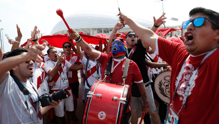 Peru fans cheer outside the stadium ahead of the Russia 2018 World Cup Group C football match between Australia and Peru at the Fisht Stadium in Sochi on June 26, 2018. (Photo by Adrian DENNIS / AFP) / RESTRICTED TO EDITORIAL USE - NO MOBILE PUSH ALERTS/DOWNLOADS        (Photo credit should read ADRIAN DENNIS/AFP/Getty Images)