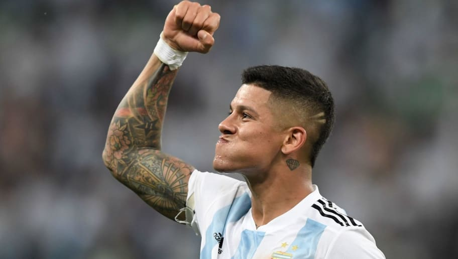 Argentina's defender Marcos Rojo reacts after victory during the Russia 2018 World Cup Group D football match between Nigeria and Argentina at the Saint Petersburg Stadium in Saint Petersburg on June 26, 2018. (Photo by GABRIEL BOUYS / AFP) / RESTRICTED TO EDITORIAL USE - NO MOBILE PUSH ALERTS/DOWNLOADS        (Photo credit should read GABRIEL BOUYS/AFP/Getty Images)