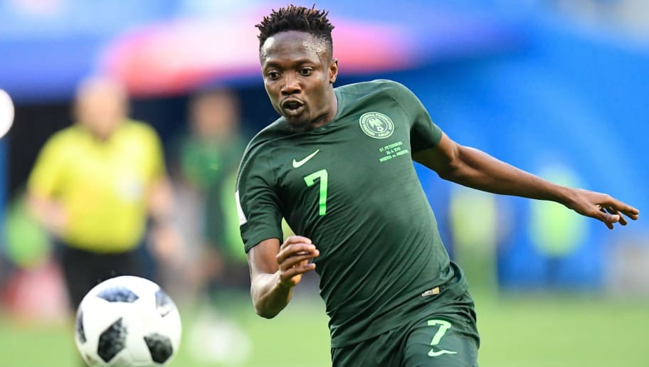 Nigeria's forward Ahmed Musa runs with the ball during the Russia 2018 World Cup Group D football match between Nigeria and Argentina at the Saint Petersburg Stadium in Saint Petersburg on June 26, 2018. (Photo by CHRISTOPHE SIMON / AFP) / RESTRICTED TO EDITORIAL USE - NO MOBILE PUSH ALERTS/DOWNLOADS        (Photo credit should read CHRISTOPHE SIMON/AFP/Getty Images)