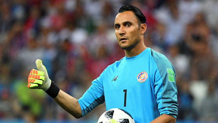 Costa Rica's goalkeeper Keylor Navas gestures as he holds the ball  during the Russia 2018 World Cup Group E football match between Switzerland and Costa Rica at the Nizhny Novgorod Stadium in Nizhny Novgorod on June 27, 2018. (Photo by Johannes EISELE / AFP) / RESTRICTED TO EDITORIAL USE - NO MOBILE PUSH ALERTS/DOWNLOADS        (Photo credit should read JOHANNES EISELE/AFP/Getty Images)