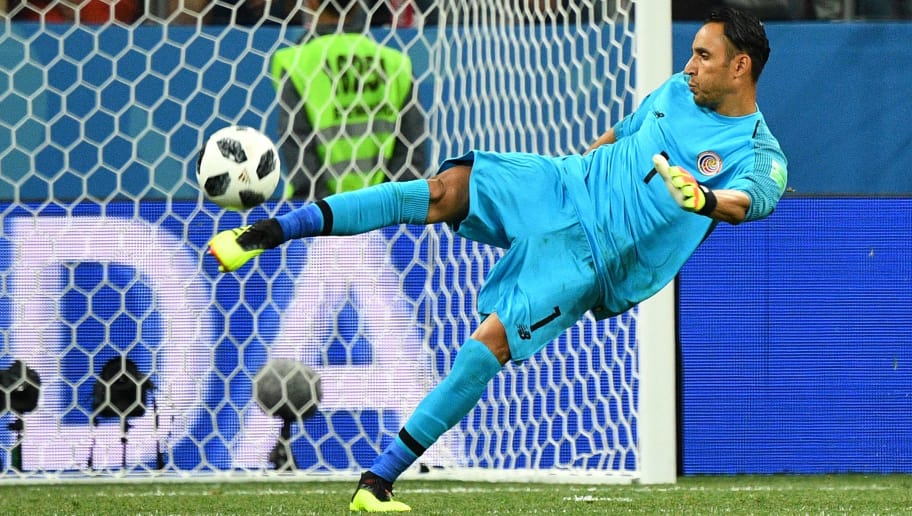 Costa Rica's goalkeeper Keylor Navas kicks the ball  during the Russia 2018 World Cup Group E football match between Switzerland and Costa Rica at the Nizhny Novgorod Stadium in Nizhny Novgorod on June 27, 2018. (Photo by Johannes EISELE / AFP) / RESTRICTED TO EDITORIAL USE - NO MOBILE PUSH ALERTS/DOWNLOADS        (Photo credit should read JOHANNES EISELE/AFP/Getty Images)