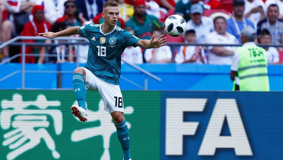 Germany's defender Joshua Kimmich controls the ball during the Russia 2018 World Cup Group F football match between South Korea and Germany at the Kazan Arena in Kazan on June 27, 2018. (Photo by BENJAMIN CREMEL / AFP) / RESTRICTED TO EDITORIAL USE - NO MOBILE PUSH ALERTS/DOWNLOADS        (Photo credit should read BENJAMIN CREMEL/AFP/Getty Images)