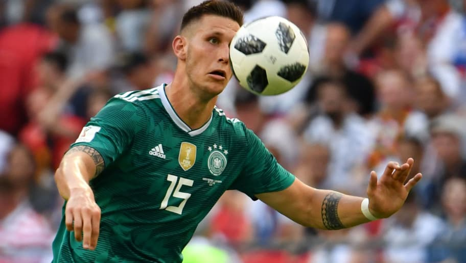 Germany's defender Niklas Suele eyes the ball during the Russia 2018 World Cup Group F football match between South Korea and Germany at the Kazan Arena in Kazan on June 27, 2018. (Photo by SAEED KHAN / AFP) / RESTRICTED TO EDITORIAL USE - NO MOBILE PUSH ALERTS/DOWNLOADS        (Photo credit should read SAEED KHAN/AFP/Getty Images)
