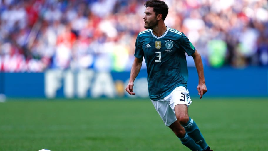 Germany's defender Jonas Hector runs with the ball during the Russia 2018 World Cup Group F football match between South Korea and Germany at the Kazan Arena in Kazan on June 27, 2018. (Photo by BENJAMIN CREMEL / AFP) / RESTRICTED TO EDITORIAL USE - NO MOBILE PUSH ALERTS/DOWNLOADS        (Photo credit should read BENJAMIN CREMEL/AFP/Getty Images)