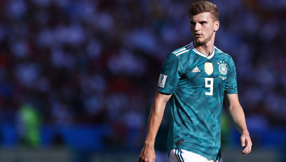 Germany's forward Timo Werner looks on during the Russia 2018 World Cup Group F football match between South Korea and Germany at the Kazan Arena in Kazan on June 27, 2018. (Photo by BENJAMIN CREMEL / AFP) / RESTRICTED TO EDITORIAL USE - NO MOBILE PUSH ALERTS/DOWNLOADS        (Photo credit should read BENJAMIN CREMEL/AFP/Getty Images)