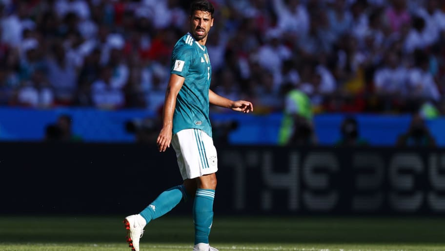 Germany's midfielder Sami Khedira looks on during the Russia 2018 World Cup Group F football match between South Korea and Germany at the Kazan Arena in Kazan on June 27, 2018. (Photo by BENJAMIN CREMEL / AFP) / RESTRICTED TO EDITORIAL USE - NO MOBILE PUSH ALERTS/DOWNLOADS        (Photo credit should read BENJAMIN CREMEL/AFP/Getty Images)