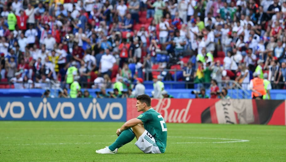 Germany's forward Mario Gomez reacts at the end of the Russia 2018 World Cup Group F football match between South Korea and Germany at the Kazan Arena in Kazan on June 27, 2018. (Photo by SAEED KHAN / AFP) / RESTRICTED TO EDITORIAL USE - NO MOBILE PUSH ALERTS/DOWNLOADS        (Photo credit should read SAEED KHAN/AFP/Getty Images)
