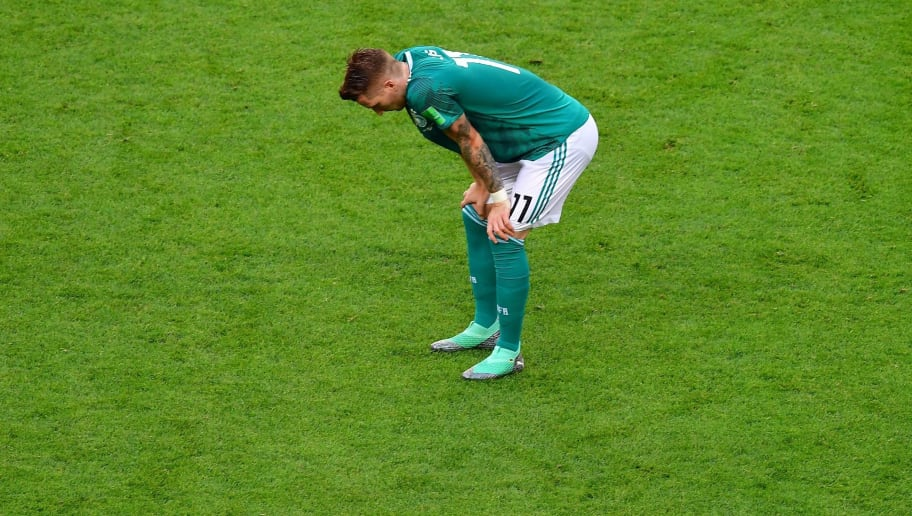 Germany's forward Marco Reus reacts at the end of the Russia 2018 World Cup Group F football match between South Korea and Germany at the Kazan Arena in Kazan on June 27, 2018. - Germany have been eliminated from a World Cup in the first round for the first time since the Second World War, as the holders are knocked out in the group stage for the fourth time this century. (Photo by Luis Acosta / AFP) / RESTRICTED TO EDITORIAL USE - NO MOBILE PUSH ALERTS/DOWNLOADS        (Photo credit should read LUIS ACOSTA/AFP/Getty Images)