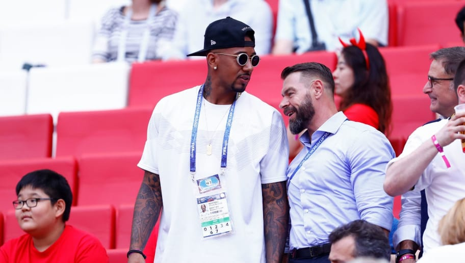 Germany's defender Jerome Boateng (C) sits in the stands during the Russia 2018 World Cup Group F football match between South Korea and Germany at the Kazan Arena in Kazan on June 27, 2018. (Photo by BENJAMIN CREMEL / AFP) / RESTRICTED TO EDITORIAL USE - NO MOBILE PUSH ALERTS/DOWNLOADS        (Photo credit should read BENJAMIN CREMEL/AFP/Getty Images)