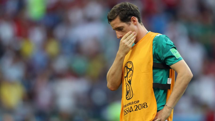 Germany's midfielder Sebastian Rudy reacts at the end of the Russia 2018 World Cup Group F football match between South Korea and Germany at the Kazan Arena in Kazan on June 27, 2018. - Germany have been eliminated from a World Cup in the first round for the first time since the Second World War, as the holders are knocked out in the group stage for the fourth time this century. (Photo by Roman Kruchinin / AFP) / RESTRICTED TO EDITORIAL USE - NO MOBILE PUSH ALERTS/DOWNLOADS        (Photo credit should read ROMAN KRUCHININ/AFP/Getty Images)