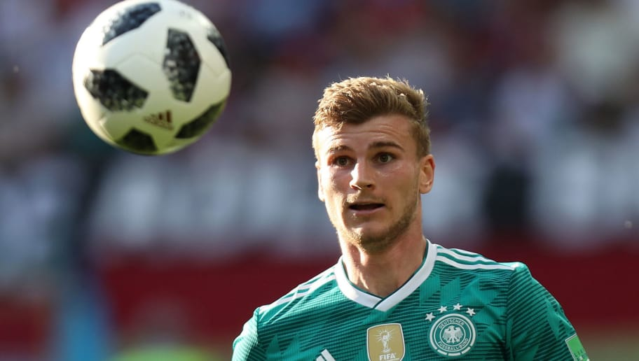 Germany's forward Timo Werner controls the ball during the Russia 2018 World Cup Group F football match between South Korea and Germany at the Kazan Arena in Kazan on June 27, 2018. (Photo by Roman Kruchinin / AFP) / RESTRICTED TO EDITORIAL USE - NO MOBILE PUSH ALERTS/DOWNLOADS        (Photo credit should read ROMAN KRUCHININ/AFP/Getty Images)