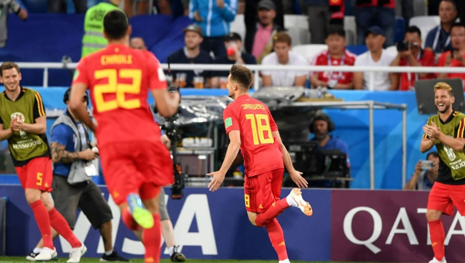 Belgium's forward Adnan Januzaj celebrates scoring the opening goal during the Russia 2018 World Cup Group G football match between England and Belgium at the Kaliningrad Stadium in Kaliningrad on June 28, 2018. (Photo by OZAN KOSE / AFP) / RESTRICTED TO EDITORIAL USE - NO MOBILE PUSH ALERTS/DOWNLOADS        (Photo credit should read OZAN KOSE/AFP/Getty Images)