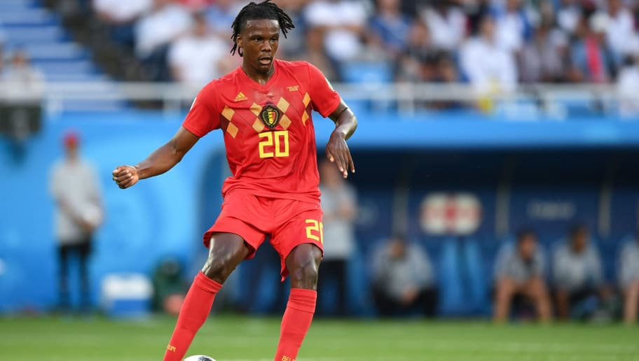 Belgium's defender Dedryck Boyata controls the ball during the Russia 2018 World Cup Group G football match between England and Belgium at the Kaliningrad Stadium in Kaliningrad on June 28, 2018. (Photo by OZAN KOSE / AFP) / RESTRICTED TO EDITORIAL USE - NO MOBILE PUSH ALERTS/DOWNLOADS        (Photo credit should read OZAN KOSE/AFP/Getty Images)