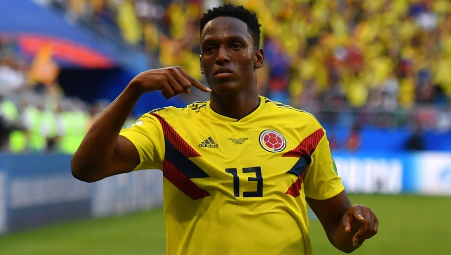 Colombia's defender Yerry Mina celebrates after scoring a goal during the Russia 2018 World Cup Group H football match between Senegal and Colombia at the Samara Arena in Samara on June 28, 2018. (Photo by Manan VATSYAYANA / AFP) / RESTRICTED TO EDITORIAL USE - NO MOBILE PUSH ALERTS/DOWNLOADS        (Photo credit should read MANAN VATSYAYANA/AFP/Getty Images)