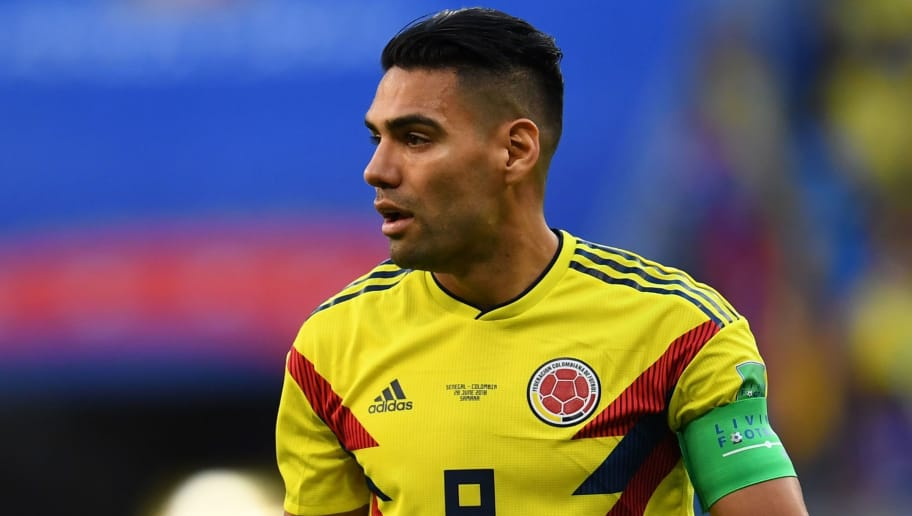 Colombia's forward Falcao reacts during the Russia 2018 World Cup Group H football match between Senegal and Colombia at the Samara Arena in Samara on June 28, 2018. (Photo by Manan VATSYAYANA / AFP) / RESTRICTED TO EDITORIAL USE - NO MOBILE PUSH ALERTS/DOWNLOADS        (Photo credit should read MANAN VATSYAYANA/AFP/Getty Images)