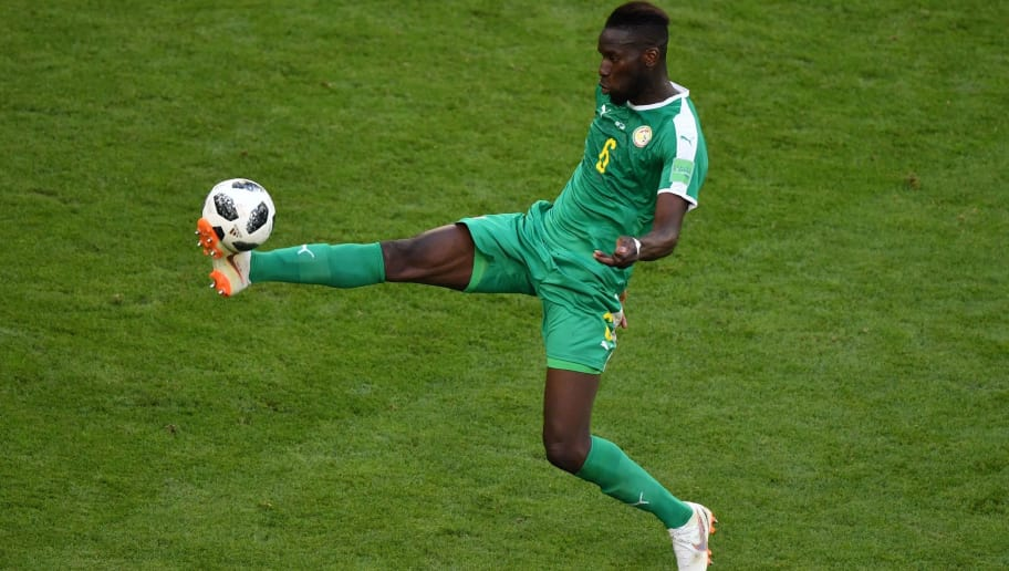 Senegal's defender Salif Sane controls the ball during the Russia 2018 World Cup Group H football match between Senegal and Colombia at the Samara Arena in Samara on June 28, 2018. (Photo by Fabrice COFFRINI / AFP) / RESTRICTED TO EDITORIAL USE - NO MOBILE PUSH ALERTS/DOWNLOADS        (Photo credit should read FABRICE COFFRINI/AFP/Getty Images)