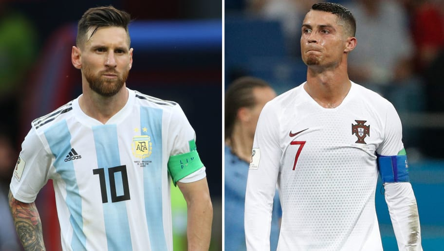 (COMBO) This combination of two files pictures created on June 30, 2018 shows Argentina's forward Lionel Messi (L) in Kazan on June 30, 2018 and Portugal's forward Cristiano Ronaldo in Sochi on June 30, 2018. - Cristiano Ronaldo and Lionel Messi saw their World Cup dreams snuffed out on June 30, 2018. (Photo by Roman KRUCHININ and Adrian DENNIS / AFP)        (Photo credit should read ROMAN KRUCHININ,ADRIAN DENNIS/AFP/Getty Images)