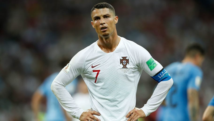 Portugal's forward Cristiano Ronaldo reacts during the Russia 2018 World Cup round of 16 football match between Uruguay and Portugal at the Fisht Stadium in Sochi on June 30, 2018. (Photo by Odd ANDERSEN / AFP) / RESTRICTED TO EDITORIAL USE - NO MOBILE PUSH ALERTS/DOWNLOADS        (Photo credit should read ODD ANDERSEN/AFP/Getty Images)