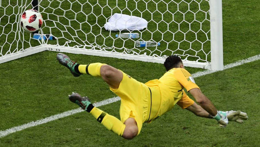 Portugal's goalkeeper Rui Patricio fails to stop Uruguay's second goal during the Russia 2018 World Cup round of 16 football match between Uruguay and Portugal at the Fisht Stadium in Sochi on June 30, 2018. (Photo by PIERRE-PHILIPPE MARCOU / AFP) / RESTRICTED TO EDITORIAL USE - NO MOBILE PUSH ALERTS/DOWNLOADS        (Photo credit should read PIERRE-PHILIPPE MARCOU/AFP/Getty Images)