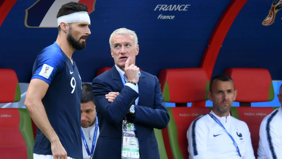 France's coach Didier Deschamps (2nd-L) speaks with France's forward Olivier Giroud (L) during the Russia 2018 World Cup Group C football match between France and Australia at the Kazan Arena in Kazan on June 16, 2018. (Photo by Kirill KUDRYAVTSEV / AFP) / RESTRICTED TO EDITORIAL USE - NO MOBILE PUSH ALERTS/DOWNLOADS        (Photo credit should read KIRILL KUDRYAVTSEV/AFP/Getty Images)