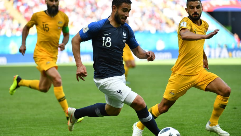 France's midfielder Nabil Fekir (C) vies with Australia's defender Aziz Behich during the Russia 2018 World Cup Group C football match between France and Australia at the Kazan Arena in Kazan on June 16, 2018. (Photo by SAEED KHAN / AFP) / RESTRICTED TO EDITORIAL USE - NO MOBILE PUSH ALERTS/DOWNLOADS        (Photo credit should read SAEED KHAN/AFP/Getty Images)