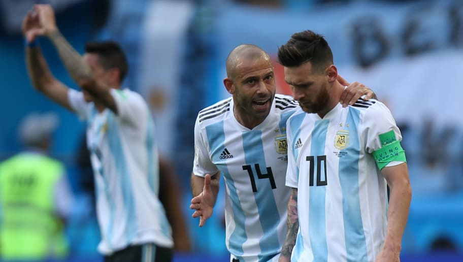Argentina's forward Lionel Messi (R) and Argentina's midfielder Javier Mascherano react after their first goal during the Russia 2018 World Cup round of 16 football match between France and Argentina at the Kazan Arena in Kazan on June 30, 2018. (Photo by Roman Kruchinin / AFP) / RESTRICTED TO EDITORIAL USE - NO MOBILE PUSH ALERTS/DOWNLOADS        (Photo credit should read ROMAN KRUCHININ/AFP/Getty Images)