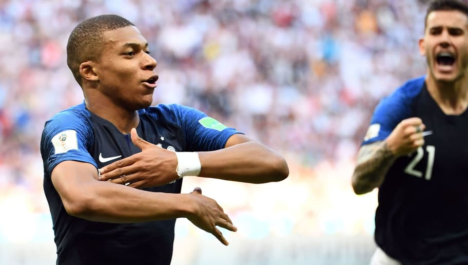 France's forward Kylian Mbappe celebrates after scoring their third goal during the Russia 2018 World Cup round of 16 football match between France and Argentina at the Kazan Arena in Kazan on June 30, 2018. (Photo by FRANCK FIFE / AFP) / RESTRICTED TO EDITORIAL USE - NO MOBILE PUSH ALERTS/DOWNLOADS        (Photo credit should read FRANCK FIFE/AFP/Getty Images)