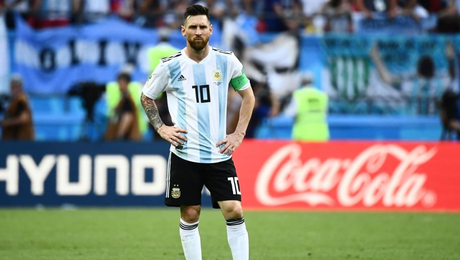 Argentina's forward Lionel Messi looks on during the Russia 2018 World Cup round of 16 football match between France and Argentina at the Kazan Arena in Kazan on June 30, 2018. (Photo by Jewel SAMAD / AFP) / RESTRICTED TO EDITORIAL USE - NO MOBILE PUSH ALERTS/DOWNLOADS        (Photo credit should read JEWEL SAMAD/AFP/Getty Images)