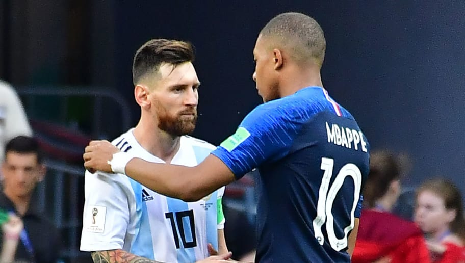 Argentina's forward Lionel Messi congratulates France's forward Kylian Mbappe (R) at the end of the Russia 2018 World Cup round of 16 football match between France and Argentina at the Kazan Arena in Kazan on June 30, 2018. (Photo by Luis Acosta / AFP) / RESTRICTED TO EDITORIAL USE - NO MOBILE PUSH ALERTS/DOWNLOADS        (Photo credit should read LUIS ACOSTA/AFP/Getty Images)