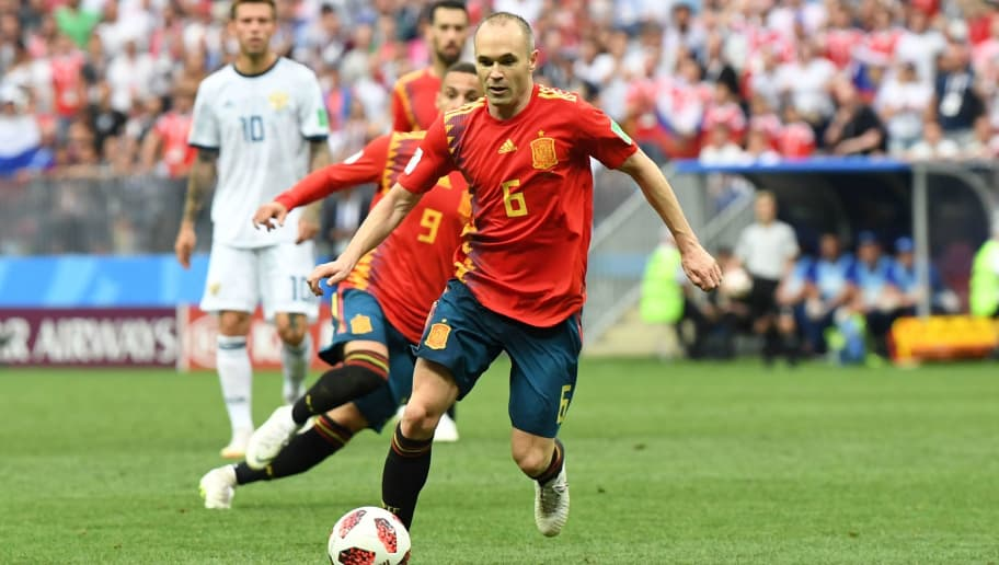 Spain's midfielder Andres Iniesta controls the ball during the Russia 2018 World Cup round of 16 football match between Spain and Russia at the Luzhniki Stadium in Moscow on July 1, 2018. (Photo by Francisco LEONG / AFP) / RESTRICTED TO EDITORIAL USE - NO MOBILE PUSH ALERTS/DOWNLOADS        (Photo credit should read FRANCISCO LEONG/AFP/Getty Images)