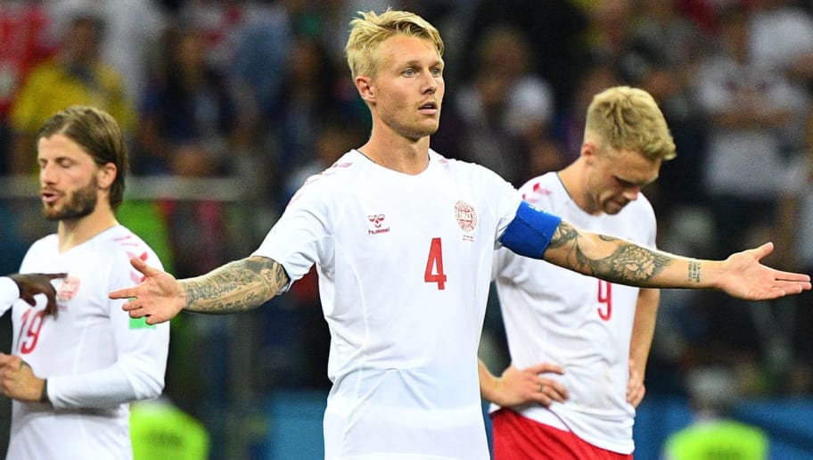 Denmark's defender Simon Kjaer reacts during the penalty shoot-out at the end of the Russia 2018 World Cup round of 16 football match between Croatia and Denmark at the Nizhny Novgorod Stadium in Nizhny Novgorod on July 1, 2018. (Photo by Johannes EISELE / AFP) / RESTRICTED TO EDITORIAL USE - NO MOBILE PUSH ALERTS/DOWNLOADS        (Photo credit should read JOHANNES EISELE/AFP/Getty Images)