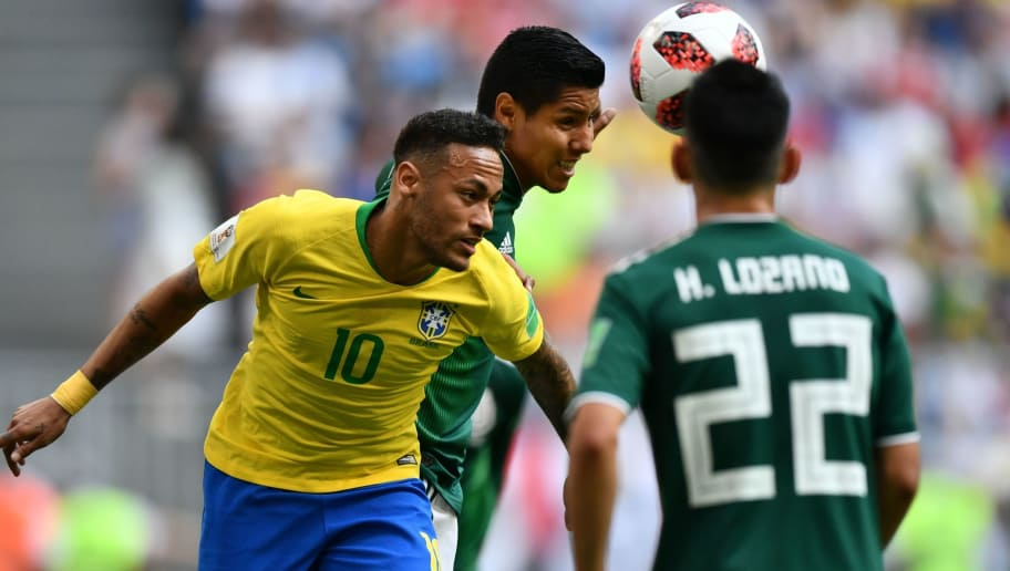 Brazil's forward Neymar in action during the Russia 2018 World Cup round of 16 football match between Brazil and Mexico at the Samara Arena in Samara on July 2, 2018. (Photo by Fabrice COFFRINI / AFP) / RESTRICTED TO EDITORIAL USE - NO MOBILE PUSH ALERTS/DOWNLOADS        (Photo credit should read FABRICE COFFRINI/AFP/Getty Images)