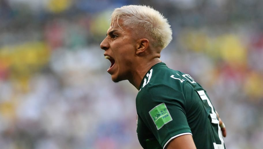Mexico's defender Carlos Salcedo reacts during the Russia 2018 World Cup round of 16 football match between Brazil and Mexico at the Samara Arena in Samara on July 2, 2018. (Photo by Fabrice COFFRINI / AFP) / RESTRICTED TO EDITORIAL USE - NO MOBILE PUSH ALERTS/DOWNLOADS        (Photo credit should read FABRICE COFFRINI/AFP/Getty Images)