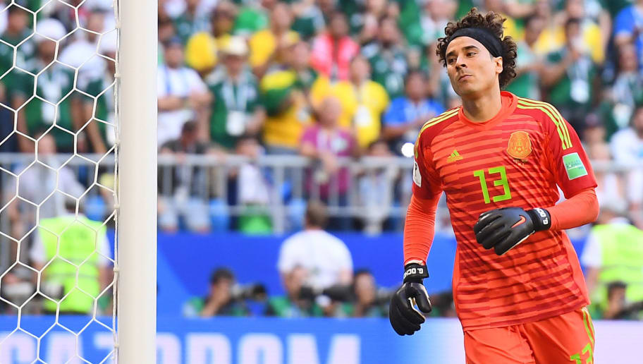 Mexico's goalkeeper Guillermo Ochoa reacts during the Russia 2018 World Cup round of 16 football match between Brazil and Mexico at the Samara Arena in Samara on July 2, 2018. (Photo by MANAN VATSYAYANA / AFP) / RESTRICTED TO EDITORIAL USE - NO MOBILE PUSH ALERTS/DOWNLOADS        (Photo credit should read MANAN VATSYAYANA/AFP/Getty Images)
