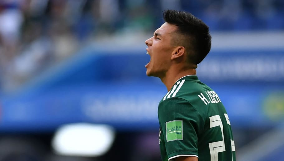 Mexico's forward Hirving Lozano reacts during the Russia 2018 World Cup round of 16 football match between Brazil and Mexico at the Samara Arena in Samara on July 2, 2018. (Photo by Fabrice COFFRINI / AFP) / RESTRICTED TO EDITORIAL USE - NO MOBILE PUSH ALERTS/DOWNLOADS        (Photo credit should read FABRICE COFFRINI/AFP/Getty Images)