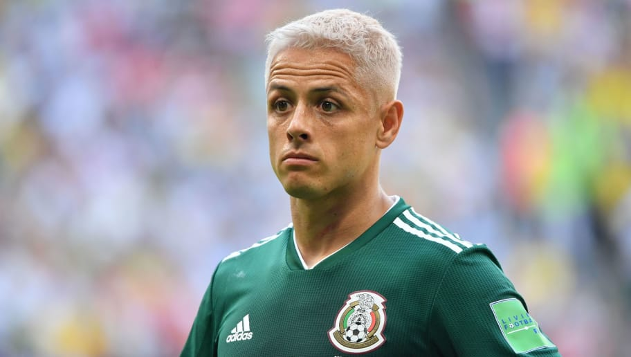 Mexico's forward Javier Hernandez looks on during the Russia 2018 World Cup round of 16 football match between Brazil and Mexico at the Samara Arena in Samara on July 2, 2018. (Photo by EMMANUEL DUNAND / AFP) / RESTRICTED TO EDITORIAL USE - NO MOBILE PUSH ALERTS/DOWNLOADS        (Photo credit should read EMMANUEL DUNAND/AFP/Getty Images)