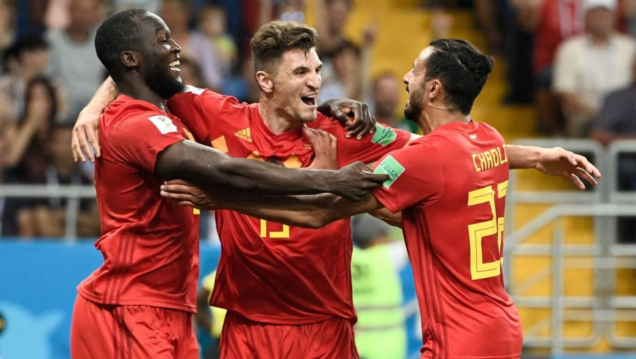 Belgium's forward Romelu Lukaku (L), Belgium's defender Thomas Meunier (C), and Belgium's midfielder Nacer Chadli celebrate their winning goal during the Russia 2018 World Cup round of 16 football match between Belgium and Japan at the Rostov Arena in Rostov-On-Don on July 2, 2018. - Belgium scored a last-gasp winner to beat Japan on Monday and set up a World Cup quarter-final against Brazil. (Photo by Filippo MONTEFORTE / AFP) / RESTRICTED TO EDITORIAL USE - NO MOBILE PUSH ALERTS/DOWNLOADS        (Photo credit should read FILIPPO MONTEFORTE/AFP/Getty Images)
