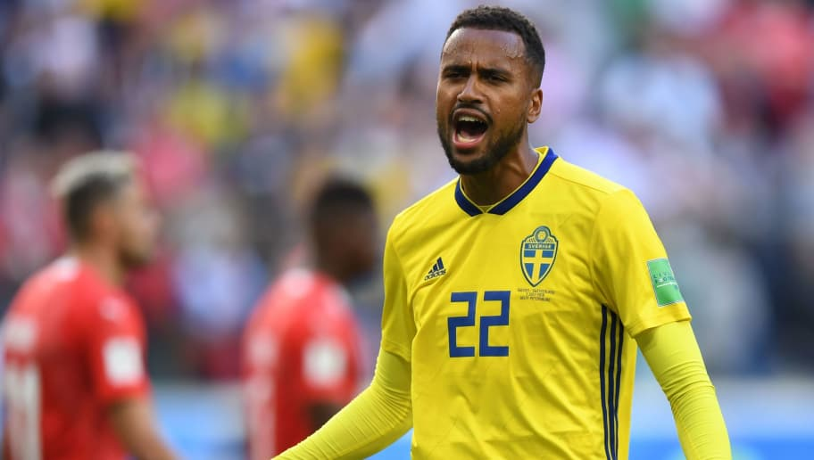 Sweden's forward Isaac Kiese Thelin celebrates their victory at the end of the Russia 2018 World Cup round of 16 football match between Sweden and Switzerland at the Saint Petersburg Stadium in Saint Petersburg on July 3, 2018. (Photo by Paul ELLIS / AFP) / RESTRICTED TO EDITORIAL USE - NO MOBILE PUSH ALERTS/DOWNLOADS        (Photo credit should read PAUL ELLIS/AFP/Getty Images)