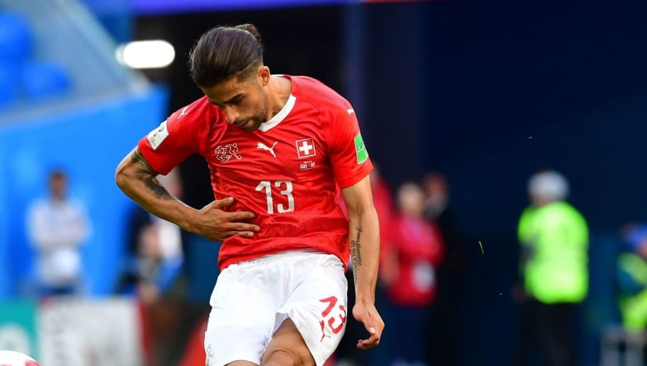 Switzerland's defender Ricardo Rodriguez kicks the ball during the Russia 2018 World Cup round of 16 football match between Sweden and Switzerland at the Saint Petersburg Stadium in Saint Petersburg on July 3, 2018. (Photo by Giuseppe CACACE / AFP) / RESTRICTED TO EDITORIAL USE - NO MOBILE PUSH ALERTS/DOWNLOADS        (Photo credit should read GIUSEPPE CACACE/AFP/Getty Images)