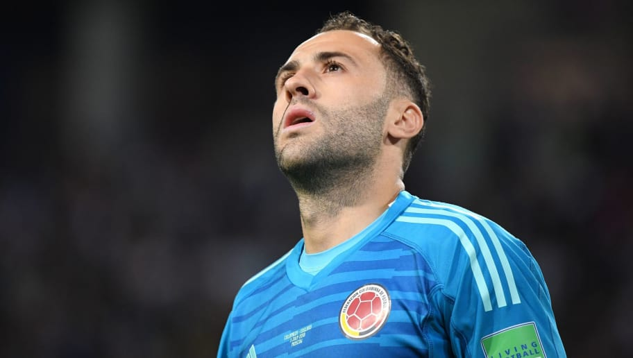 Colombia's goalkeeper David Ospina during the penalty shootout of the Russia 2018 World Cup round of 16 football match between Colombia and England at the Spartak Stadium in Moscow on July 3, 2018. (Photo by YURI CORTEZ / AFP) / RESTRICTED TO EDITORIAL USE - NO MOBILE PUSH ALERTS/DOWNLOADS        (Photo credit should read YURI CORTEZ/AFP/Getty Images)
