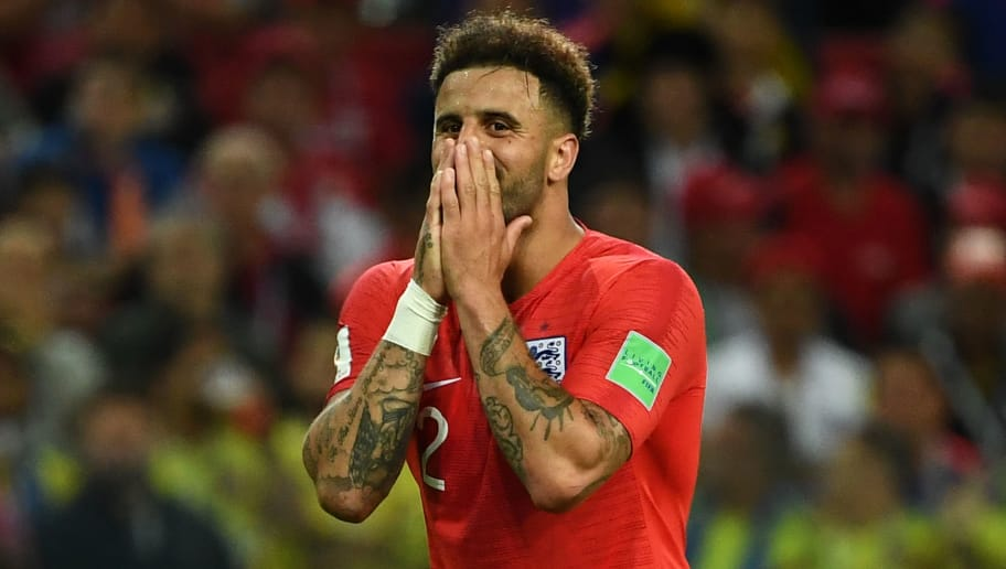 England's defender Kyle Walker reacts during the Russia 2018 World Cup round of 16 football match between Colombia and England at the Spartak Stadium in Moscow on July 3, 2018. (Photo by FRANCK FIFE / AFP) / RESTRICTED TO EDITORIAL USE - NO MOBILE PUSH ALERTS/DOWNLOADS        (Photo credit should read FRANCK FIFE/AFP/Getty Images)
